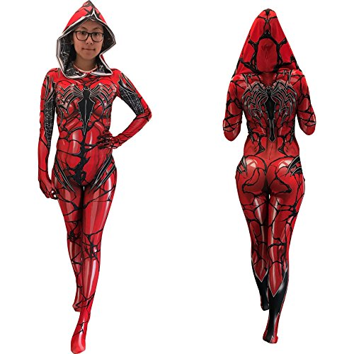 AestheticCosplay Red Gwenom Cosplay Costume | Carnage Gwenom | Gwen Stacy Suit Bodysuit Morphsuit Zentai Suit (Medium)