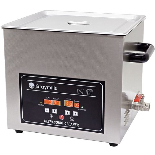 - Graymills BTV-032 Benchtop Economical Ultrasonic Parts Washer, 304SS Construction, 0.8 g, 120V, Silver