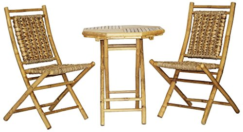 Heather Ann Creations The Kauai Collection Contemporary Style Bamboo Wooden 3-Piece Table and Chairs Outdoor Patio Bistro Dining Set, Natural