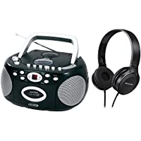 Jensen Portable Stereo Compact Disc Cassette Recorder Boombox w/ AM/FM Radio w/ Over Ear Headphone