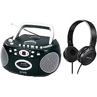 Jensen Portable Stereo Compact Disc Cassette Recorder Boombox w/ AM/FM Radio w/ Over Ear Headphone