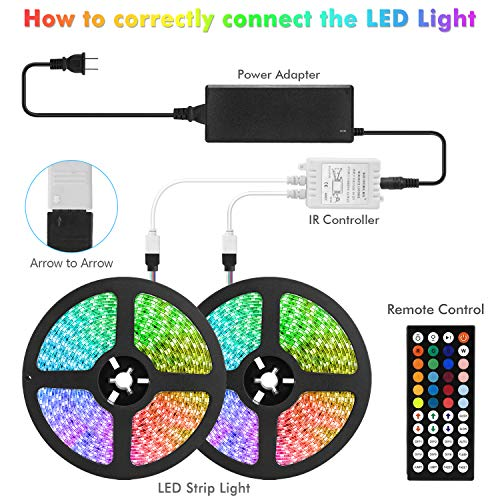 AveyLum RGB LED Strip Light 32.8ft DreamColor Flexible Tape Lights 5050 SMD RGB 300 LEDs Waterproof IP65 Rope Light with 44 Keys Wireless Controller and 12V Power Adapter for Home Kitchen Party Deco
