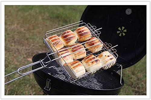 WYX Grill Fish Clip, Manico in Legno in Acciaio Inox Strumento Barbecue Pesce grigliate Cestino Burger griglia di Carne Cartella Clip per Picnic all'aperto Picnic