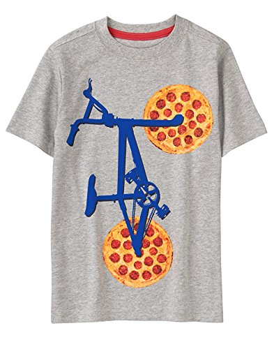 Gymboree Little Boys' Short Sleeve Crewneck Graphic Tee, Grey Pizza Bike, S from Gymboree