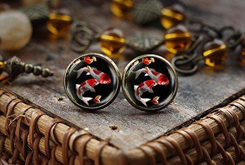 (Koi Fish stud earrings, Japanese Koi Fish, black Koi Fish art earrings, Asian Art earrings, little fish earrings, lucky fish earrings )