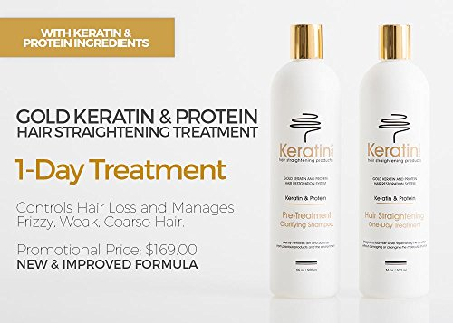 Gold Keratin Protein Hair Straightening One-Day Treatment Duo 16oz / 500ml plus FREE Gold Keratin Protein Activator Treatment 8oz / 237ml (System Straightening Keratin)