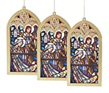 Caffco Holy Family Stained Glass Style Hanging Christmas Ornament Set of 3