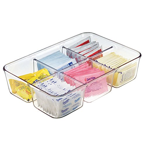 mDesign Coffee Condiment Packet Organizer for Sugar, Salt, Sweeteners, Tea Bags, Creamers - Clear