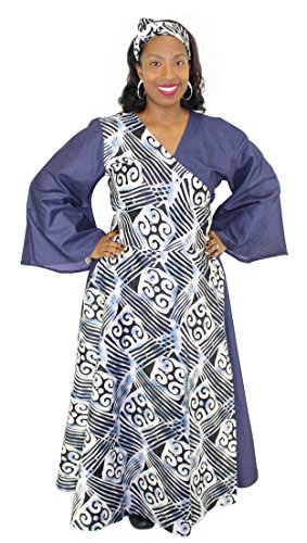 Denim Assorted Print Wrap Maxi Dress with Bell Sleeves (Gray & Blue) by African Planet