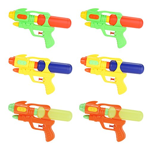 (Fun-Here Water Guns 9 Inch 6 Packs for Kids Adults Multicolor Squirt Gun in Party Pool Bath Favors Indoor Outdoor Funy Summer Toy (Pack of)