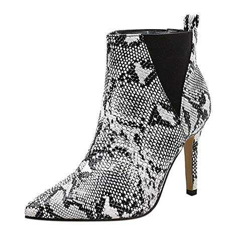 (Seaintheson Women Snakeskin Pattern Boots, Ladies Buckle Shoes Pointed Toe Zip Thin Heel Thick Booties Shoes)