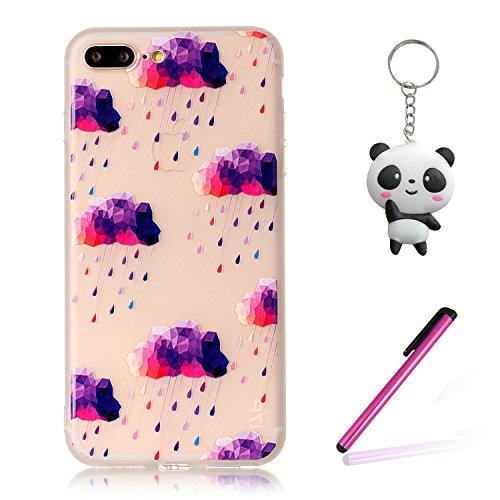 iPhone 8 Plus Hülle,3D Lila wolken Premium Handy Tasche Schutz Transparent Schale Für Apple iPhone 8 Plus + Zwei Geschenk