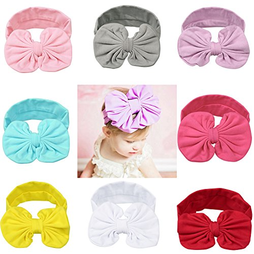 Itaar Baby Girl Headband Soft Bow Knot Cotton Head Wrap Set Of 8 Colors (Pretty Girl Outfits)
