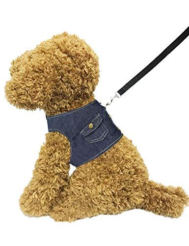 Hamour Pets Adjustable Vest Harness Leash Set Denim Cowboy Coat for Small Medium Large Dogs Cats Walking Running, S (Chest 11