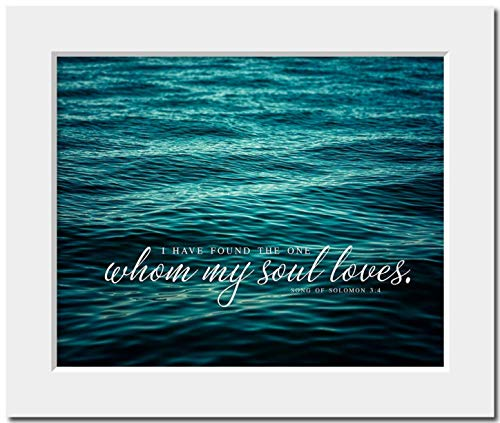 Wedding Gift 'I Have Found the One Whom My Soul Loves' Matted 8x10 Print (fits 11x14 frame). Romantic Quotation for Anniversary or Engagement. Teal Beach Bedroom Decor. ()