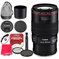 Canon EF 100mm f/2.8L Macro IS USM Lens with Elite Optics Commander Pro HD Series Ultra-Violet Protector UV Filter & Circular Polarizer CPL Multi-Coated Filter - International Version