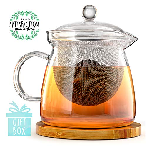 Buy Bargain Teapot and Infuser Set with Bamboo Trivet in Beautiful Gift Box - Premium Quality Glass ...