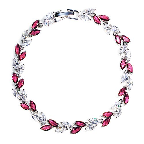 Me&Hz Pink Crystal Bracelets Series Made with Swarovski Crystals CZ Rhinestone Tennis Bracelets Gift for ()