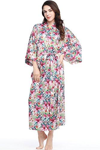 BABEYOND Floral Kimono Robe Satin Silk Wedding Robe 1920s Kimono Nightgown Sleepwear 53