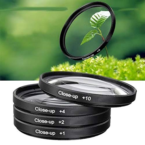 SUPERNIC 55mm Macro Close up Lens Filter Kit +1 +2 +4 +10 For Nikon 18-55mm f/3.5-5.6G VR AF-P DX and 70-300mm f/4.5-6.3G ED with 4 Pocket Carry Pouch with microfiber cloth