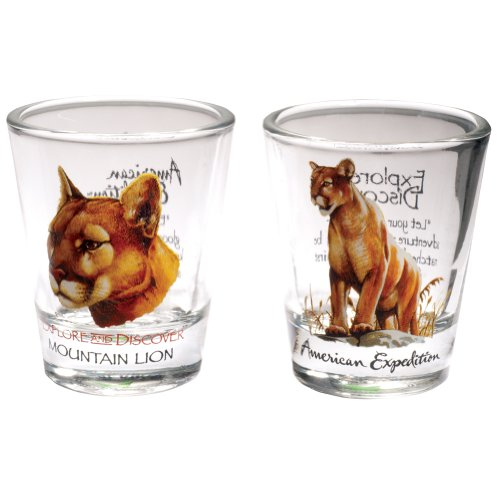 American Expedition Set of 2 Shot Glasses (Mountain Lion) (Lions Shot Glass Set)