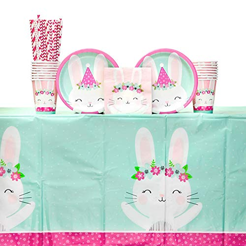 Birthday Bunny Party Supplies Pack for 16 Guests Including Paper Cups, Paper Dessert Plates, Paper Beverage Napkins, Paper Straws, and Plastic Table Cover (Bundle for 16)
