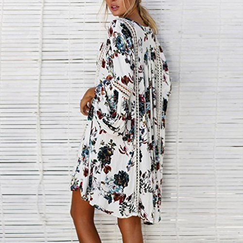 Femmes Mini Sling Blanc Femmes Neck Robe Imprimer Femme Mini Robe Halter sans Boho Off Ete Paule Fathoit Manches Casual Imprimer Bohemian Chic BohMe qwtZCBxaB