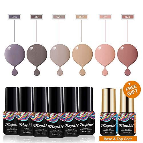 MAPHIE Gel Nail Polish Sets, Soak Off Nude Gel Nail Varnish Manicure, 6 Color Gel Nails+2PC Free Gift Base and Top Coat