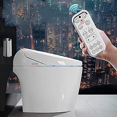 Smart Toilet,LCD Digital Heated Bidet Toilet Seat with Dual Nozzle & Massage Control Bamboo Charcoal Deodorization Night Light