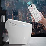 Smart Toilet,LCD Digital Heated Bidet Toilet Seat with Dual Nozzle & Massage Control Bamboo Charcoal Deodorization Night Light