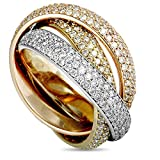Luxury Bazaar Cartier Trinity 18K White, Yellow, and Rose Gold Diamond 3 Rolling Band Ring