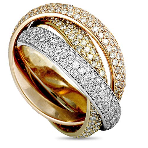 Cartier (Est.) Cartier Trinity 18K White, Yellow, and Rose Gold Diamond 3 Rolling Band Ring