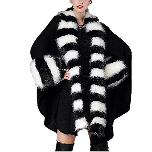 Women Fur Shawl Wraps Cloak Coat OutWare Ladies Faux Fox Fur Loose Hair Collar Knitted Cardigan Shawl