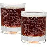 Etched Old Fashioned Whiskey Glasses - with Gift Box | 2 City Map Tumblers - Los Angeles, CA