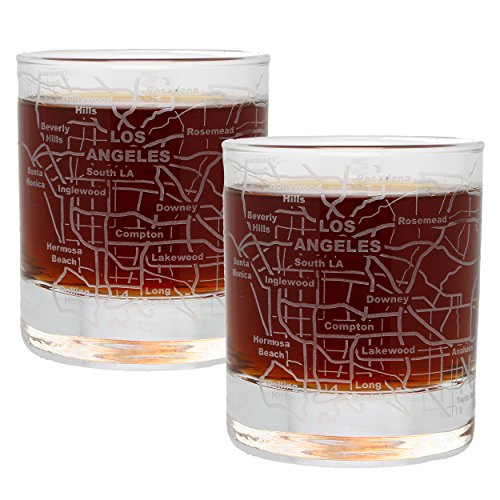 (Etched Old Fashioned Whiskey Glasses - with Gift Box | 2 City Map Tumblers - Los Angeles, CA)