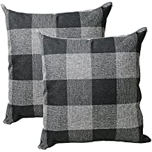 Tealp Plaid Throw Pillow Cover Linen Cotton Decorative Pillow Case Home Sofa Cushion Set ,2-Pack Square Design (18x18 inch) ,Black and Grey
