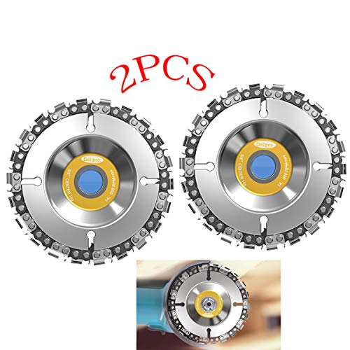 Grinder Disc Chain Plate,Woodwork Circular Saw Blades, 4/4.5 Inch Grinding Wheel Disc and 22 Tooth Fine Cut Carving Chainsaw Blade Set For 100/115 mm Angle Grinder