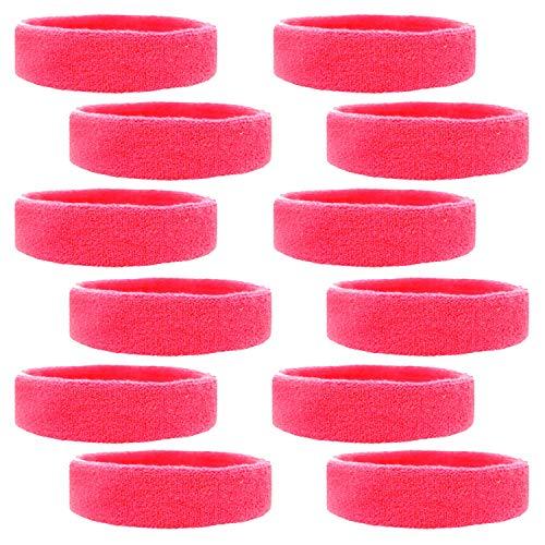 Kenz Laurenz 12 Sweatbands Cotton Sports Headbands Terry Cloth Moisture Wicking Athletic Basketball Headband (12 Pack) (Hot Pink 12 Pack)