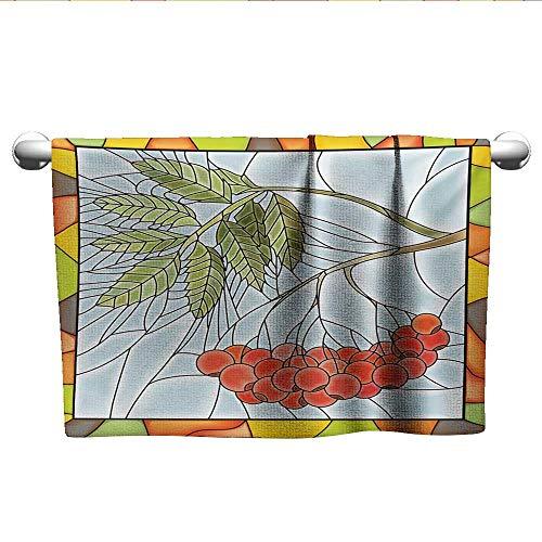 alisoso Christmas,Best Bath Towels Rowan Branch Motif on a Stained Glass Frame Noel Season Berries Winter Theme Washcloths Multicolor W 10