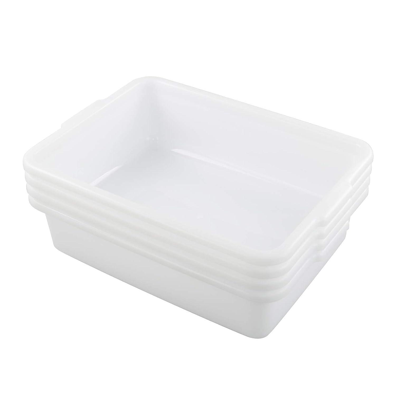 Kiddream Set of 4 Commercial Bus Box Tote, 13 Liter Large Plastic Bus Tub (White)