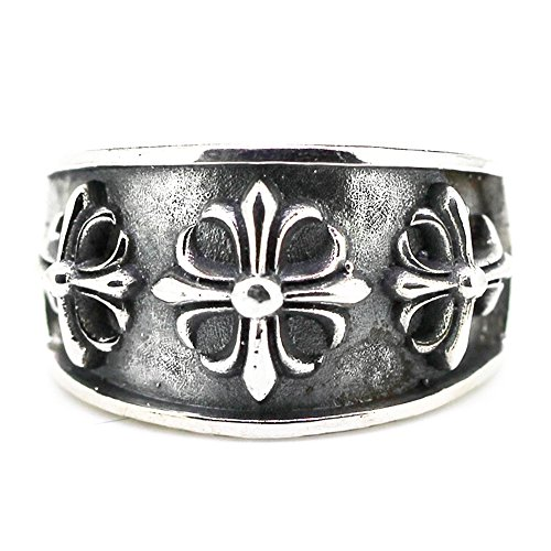 Men's Vintage Mystical Cross Pattern 925 Sterling Silver Biker Daily Wear Fashion Band Ring Set by Kardy