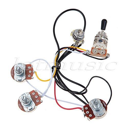 Kmise MI0318 Guitar Wiring Harness 2 Volume 1 Tone Potentiometers 500K 3 Way Toggle Switch Chrome