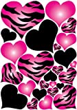 Hot Pink Radial, Zebra Print Heart Wall Decals Stickers / Hearts Wall Decor