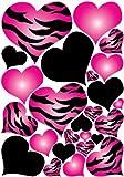 zebra decal - Hot Pink Radial, Zebra Print Heart Wall Decals Stickers / Hearts Wall Decor