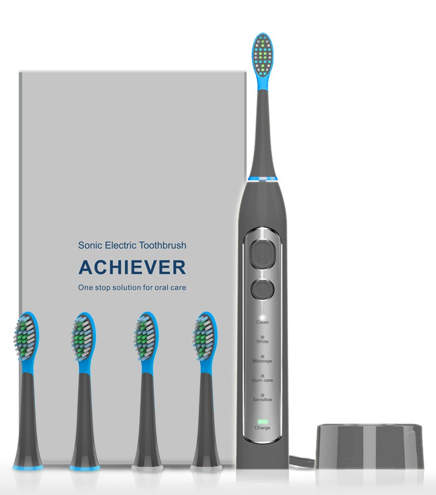 Electric Toothbrush, Sonic Electronic Whitening Toothbrushes Cordless Rechargeable Toothbrush with Timer 4 Brush Heads 5 Optional Modes Grey