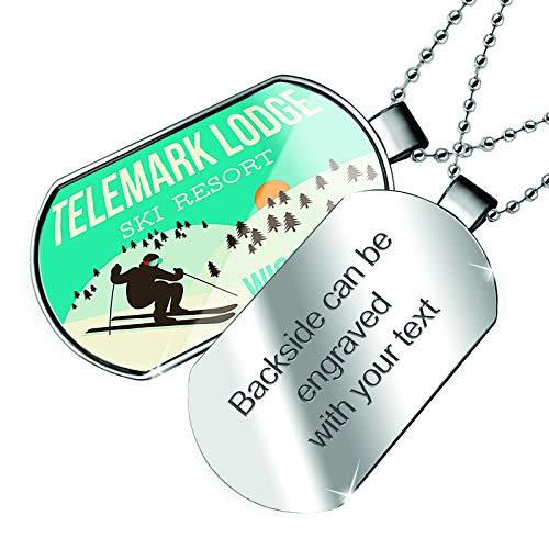 NEONBLOND Personalized Name Engraved Telemark Lodge Ski Resort - Wisconsin Ski Resort Dogtag Necklace ()