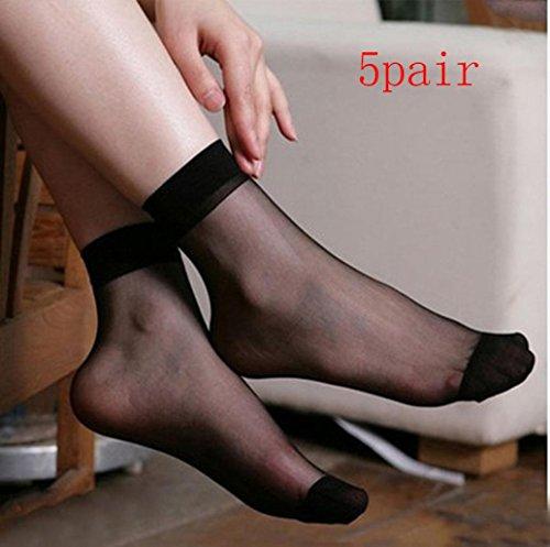 Sagton 5 Paia Di Calzini Corti Trasparenti Ultrasottili Sexy In Pizzo A Rete Tinta Unita, Calze Alla Caviglia Eleganti Nere