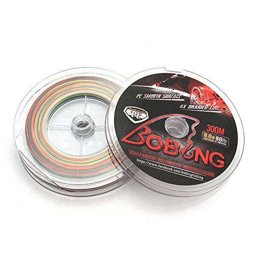BOBING 4 Strands Super-braid Strong PE Braided Fishing Line 300m/327Yards 8LB - 80LB Dyneema Multifilament Wire - 3 Plates in One - Multicolor 1 meter 1 color 327Yards-30LB-0.286mm