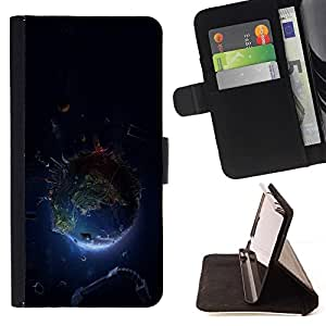 BETTY - FOR Samsung Galaxy S5 V SM-G900 - Planet Earth Space - Style PU Leather Case Wallet Flip Stand Flap Closure Cover