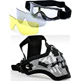 2 in 1 Adjustable Strike Steel Mesh Skull Mask + X800 3 Lens Goggles Airsoft Paintball Set Multi-color